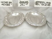Stunning Pair Of Mexican Sterling Silver Oval Serving Plates C 1950 57.2 Oz