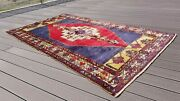 Stunning Antique 1900-1939s Natural Dye Wool Pile Tribal Area Rug 5x7ft
