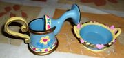 American Girl Gardening Watering Can And Planter Pot Bowl Flowers And Hearts