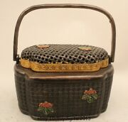 7marked Chinese Dynasty Palace Bronze Gild Portable Lunch Box Incenser Burner