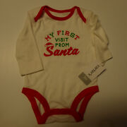 Carters Unisex One Piece My First Visit From Santa Nwt New 3m 3 Months Christmas