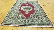 Floral Patterned Vintage 1939-1950s Natural Dyeshereke Rug Turkey 1and03911andtimes 3and0392