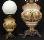 Antique Hurricane Lamp Gwtw Large Table Flowers Milk Glass C1910 Converted Oil