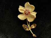 Signed Estate 18k Gold 3-d Flower Pin W/ Leaves And Stem And Rubies And Diamond Ctr