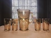 1950and039s Jeanette Honeycomb Marigold Carnival 9 Glass Pitcher And 4 5 Tumblers