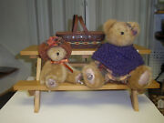 Longaberger Collectors Club Picnic Table, Mini Basket And 2 Boyds Bears, New
