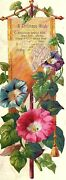 Lot Of 4 Lovely Bright Christmas Bookmark Floral Victorian Trade Cards P120