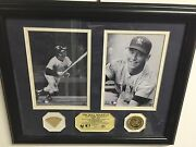 Mickey Mantle Framed 1961 Game Used Bat Photos And Gold Coin Highland Mint Yankees
