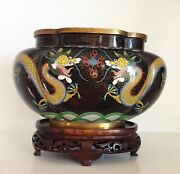Vintage 10 Chinese Cloisonne Lobed Oval Jardiniere Planter Dragons Fine Stand