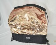 Victorias Secret Pink Sequins Bling Draw String Backpack Tote Gym School Bag Nwt