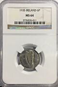 1935 Ms64 Ireland 6 Pence Ngc Km 5 Eire Unc Registry Coin 1230 Points