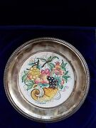 Vintage Veneto Flair Plate Of Fall 1972 , Rim On The Plate Crafted In Sterling S