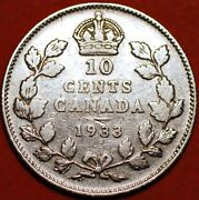 10 Cents 1933 George V Silver Canada Km23a G448to