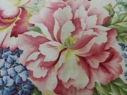 15.8y Travers Carnavalet Silky Linen Print Large Bouquet Pink Yellow Blue 1086b