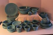 Vintage Fiesta Ware-homer Laughlin-turquoise-55 Pcs Inc Disk Water And Ice Lip