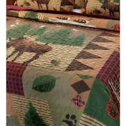 Moose Lodge 3-piece Multi Full/queen Quilt Set   Home Cabin Shams Rustic Bedding