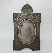 Rare Late 18th C Iron/silver Photo Frame Mughal Style Flower Carving Collectible