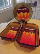3 Anchor Hocking Fire King Casserole Pie Amber 460 441 432 New..but Vintage.