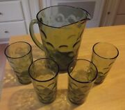Continental Can Co Green Coin Dot Circle Tumbler Drink Glass Mid Century Pitcher