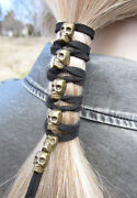 Gold Skull Leather Hair Tie Ponytail Holder Beaded Wraps Biker Clothing Jewelry