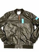 One Taz Leather Luxury Bomber Jacket Men's Style Large L Fountain Valley