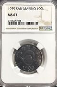 1979 Ms67 San Marino 100 Lire Coin Ngc Km95 Only 665k Minted Top Pop