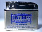 Flat Advertising Lighter Town House Restaurant Colorado Rare Made In Japan