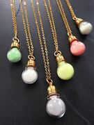 Mini Glass Bottle Glow In The Dark Potion Vial Necklace On Gold Cable Chain