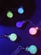 Mini Glass Bottle Glow In The Dark Potion Vial Necklace On Stainless Steel Chain