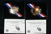 2014 Baseball Hall Of Fame Half Dollar Proof And Unc 2 Coin Set W/ogp And Coa