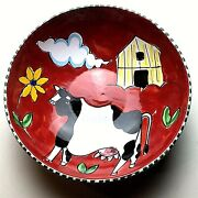 The Cellar Serving Bowl Art Pottery Macy Co Italy Hand Painted Red Cow Barn Vtg