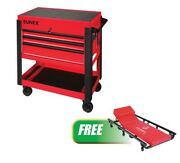 3 Drawer Slide Top Utility Cart Red W/free 6 Caster Creeper Suu-8035xtcr New