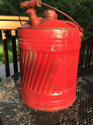Antique Gas Can Textured Ribbed Sides Wooden Handle Complete Original 5 Or 6 Gal
