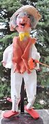 Vintage Mexican Marionette Puppet Old Man Straw Hat 15