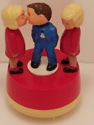 Vintage West German Toy Young Man Women Couple Kissing Carousel Working Euc
