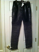 12a New Tags Black Leather And Multicolor Tweed Pants Lining Fr40-38 7.4k