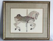 Merv Corning Lithograph - Signed - Colombia Empire Carousel Horse - Framed