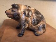 Antique Vintage Painted Heavy Cast Iron Pig Coin Bank American Animal Piggy Bank