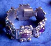 Fine Vintage Mexico Artisan Hinged Panel Silver And Large Amethyst Cabs Bracelet