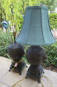 Pair Of 1970's Maitland Smith Bronze Lion Urns Claw Feet Table Lamps