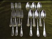 French Sterling Silver 950 Dinner Forks Soup Spoons 12p Renaissance St 957g