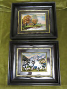 Vintage French Limoges 2 Enamel On Copper On Painting Farm And Alpine Tyrol Lake