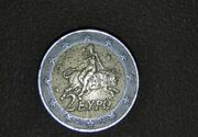 Collectible Rare Coin 2 Euro With S.. This Is The First And Its Not Centered..