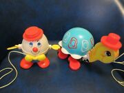 1960s Fisher Price Pull Toy Lot 773 Timmy Turtle And 736 Humpty Dumpty