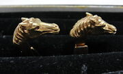 Estate Horse Head 18k Gold Cufflinks With Ruby Eyes - Horse Lover And Equestrian