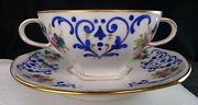 13 Howell And Hubbard / Hutschenreuther Soup Bouillon Wh And Cobalt Blue Hand Paint