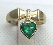 18k Yellow Gold Moveable 1.3 Carat Genuine Emerald Heart And Diamond Bow Ring