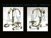 Lovely Old Iron And Baby Blue Cristal Pair Of Bedside Table Lamps