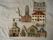 Lot Of 9 The Catand039s Meow Wooden Christmas House Tree Church Tavern Gazebo Chowder