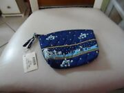 Vera Bradley Small Cosmetic In Retired Blue Holiday Christmas Pattern Nwt